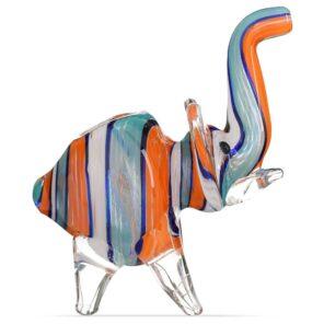 Полосатая разноцветная стеклянная трубка-слоник