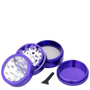 Металлический гриндер фиолетовый с прозрачной крышкой 4 части, 50 мм