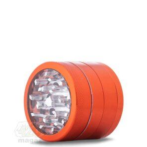 Металлический гриндер оранжевый с прозрачной крышкой