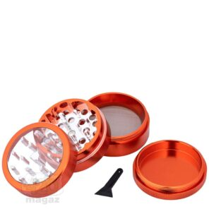 Надежный оранжевый металлический гриндер с крышкой
